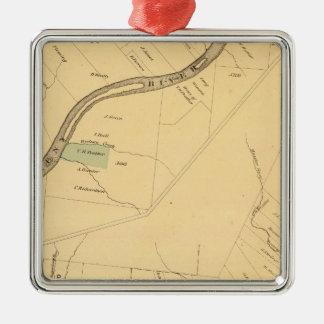 Allegheny River Pa, Map Silver-Colored Square Decoration