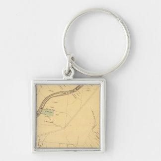 Allegheny River Pa, Map Silver-Colored Square Key Ring