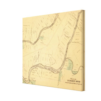 Allegheny River Pa, Map Stretched Canvas Print