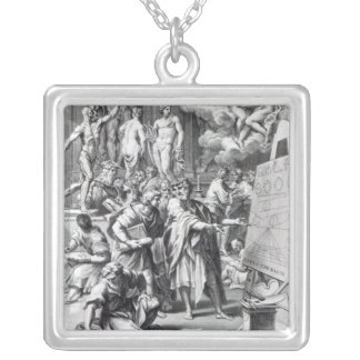 Allegory of a design studio silver plated necklace