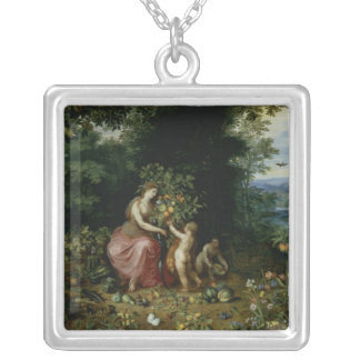 Allegory of Abundance Silver Plated Necklace