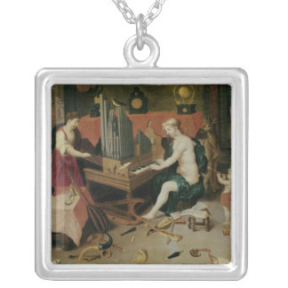 Allegory of Hearing, detail of an organist Silver Plated Necklace