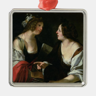 Allegory of Painting and Architecture, c.1620 (oil Silver-Colored Square Decoration