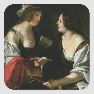 Allegory of Painting and Architecture, c.1620 (oil Square Sticker