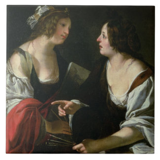 Allegory of Painting and Architecture, c.1620 (oil Tile