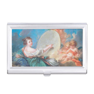 Allegory of painting Boucher Francois rococo lady Business Card Holders