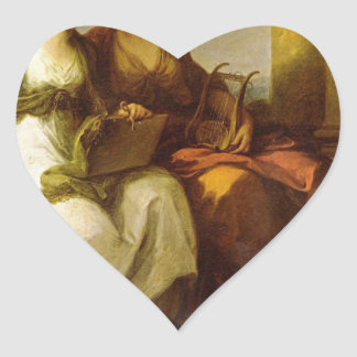 Allegory of poetry and music by Angelica Kauffman Heart Sticker