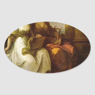 Allegory of poetry and music by Angelica Kauffman Oval Sticker