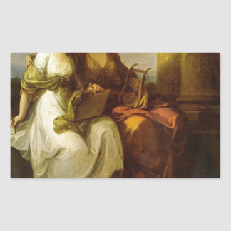 Allegory of poetry and music by Angelica Kauffman Rectangular Sticker
