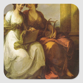 Allegory of poetry and music by Angelica Kauffman Square Sticker