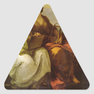 Allegory of poetry and music by Angelica Kauffman Triangle Sticker