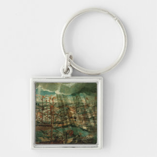 Allegory of the Battle of Lepanto Silver-Colored Square Key Ring
