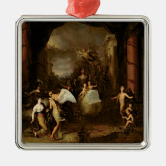 Allegory of the city of Amsterdam Silver-Colored Square Decoration