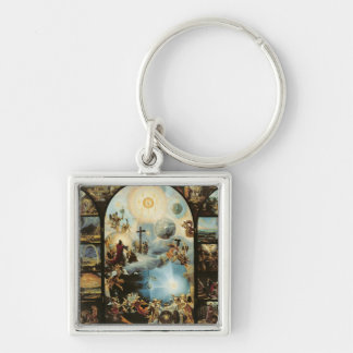 Allegory of the Creation of the Cosmos Silver-Colored Square Key Ring