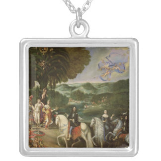 Allegory of the Marriage of Louis XIV  in 1631 Silver Plated Necklace