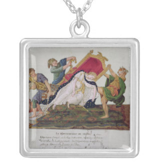 Allegory of the overturning of the throne silver plated necklace