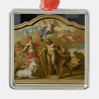 Allegory of the Power of Great Britain by Land, de Silver-Colored Square Decoration