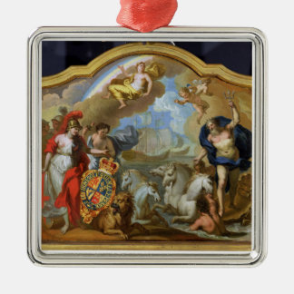 Allegory of the Power of Great Britain by Sea, des Silver-Colored Square Decoration