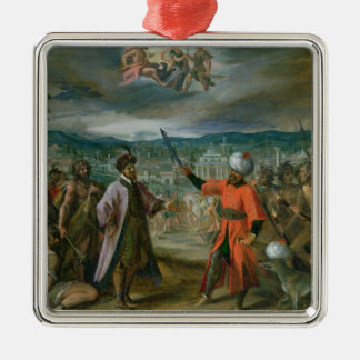 Allegory of the Turkish Wars Silver-Colored Square Decoration