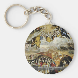 Allegory Of The Victory Of Lepanto By Greco El Basic Round Button Key Ring