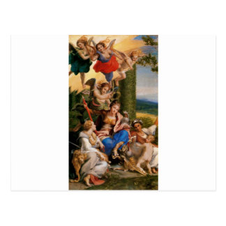 Allegory of the Virtues by Correggio Postcard