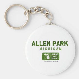 Allen Park Michigan Great Lake State Basic Round Button Key Ring