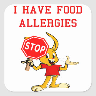 Aller-Bunny STOP-Bunny Food Allergies Sq. Stickers