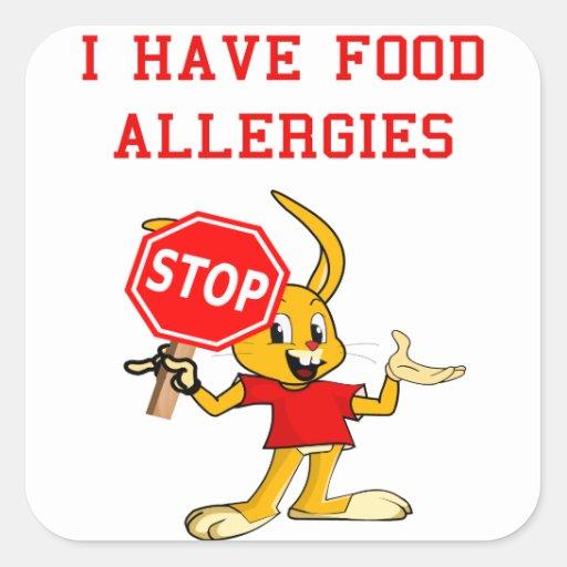 Aller-Bunny STOP-Bunny Food Allergies Sq. Stickers