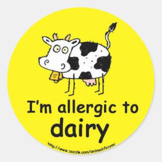 Allergic to Dairy Round Sticker