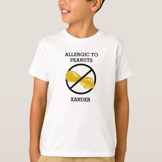 Allergic to Peanuts Personalised Kids No Peanut T-Shirt
