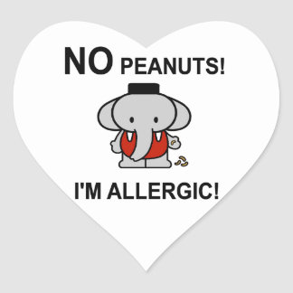 Allergic to Peanuts Heart Stickers
