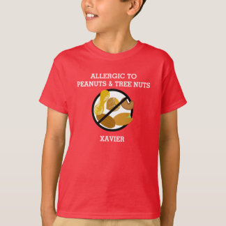 Allergic to Peanuts & Tree Nuts Personalized Kids T-Shirt