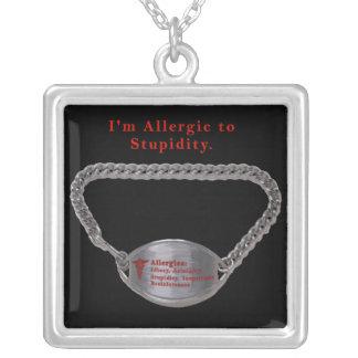 Allergic to Stupidity Square Pendant Necklace
