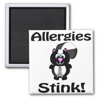 Allergies Stink Skunk Awareness Design Square Magnet