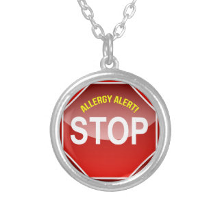 ALLERGY ALERT - add custom text! Silver Plated Necklace