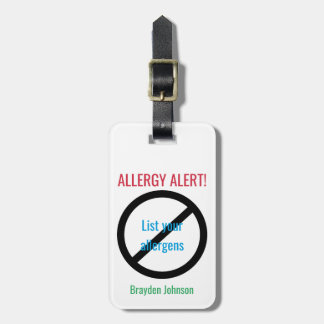 Allergy Alert Customized Food Allergy Medical Luggage Tag