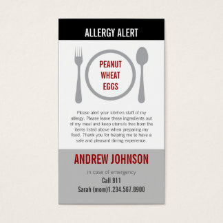 Allergy Alert Gray Duotones Business Card