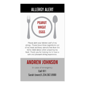 Allergy Alert Gray Duotones Pack Of Standard Business Cards