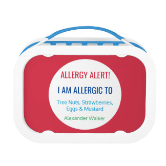 Allergy Alert Kids Personalized Red Allergic To Lunchboxes