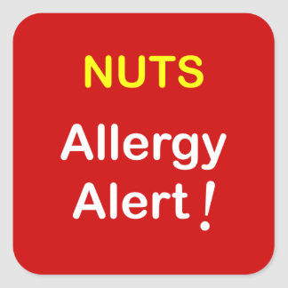 Allergy Alert - NUTS. Square Sticker
