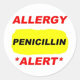 Allergy Alert Penicillin Allergy Design Allergic Round Sticker