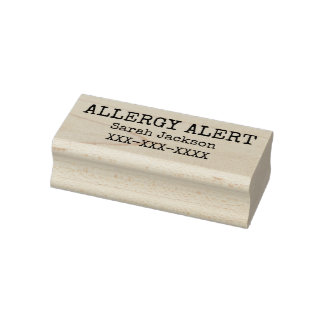 Allergy Alert Personalized Kids Basic Rubber Stamp