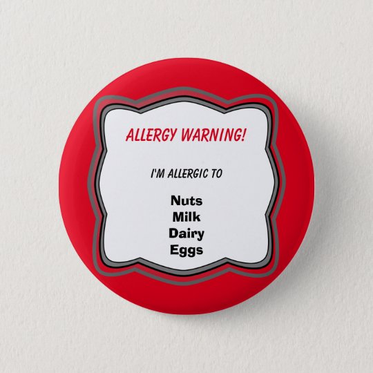 Allergy Alert Pin Button Badge