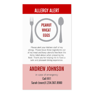 Allergy Alert Red Duotones Pack Of Standard Business Cards