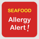 Allergy Alert - SEAFOOD. Square Stickers
