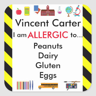 Allergy Alert Sticker for School Child's Desk