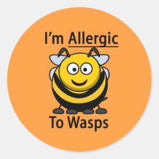 Allergy Alert sticker, wasps Round Sticker