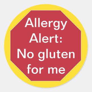 Allergy Allert:  No Gluten Customizable Text Classic Round Sticker