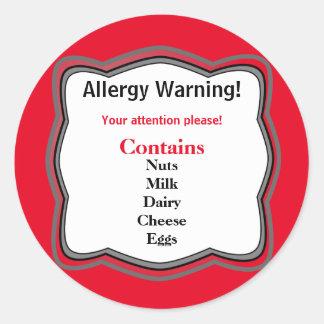 Allergy Warning Label