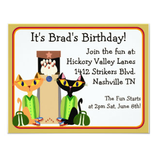 Alley Cats Bowling Party Custom Invite
